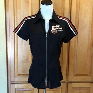 🏍 Harley-Davidson Black Short Sleeve Zip Blouse